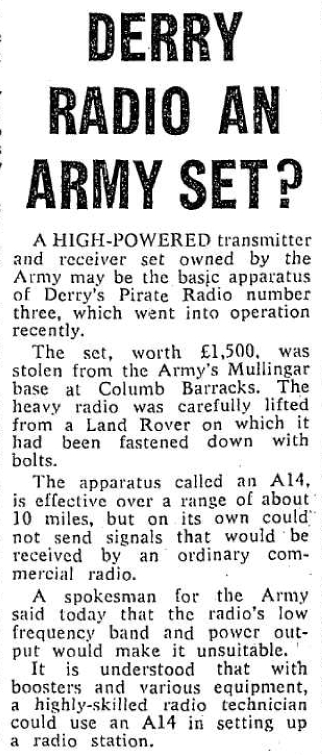 Pirate radio in Derry 1969