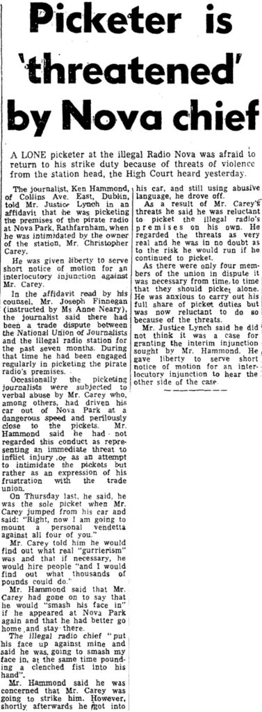 Picketer is 'threatened' by Nova chief was a newspaper headline from The Irish Press dated September 18th 1984