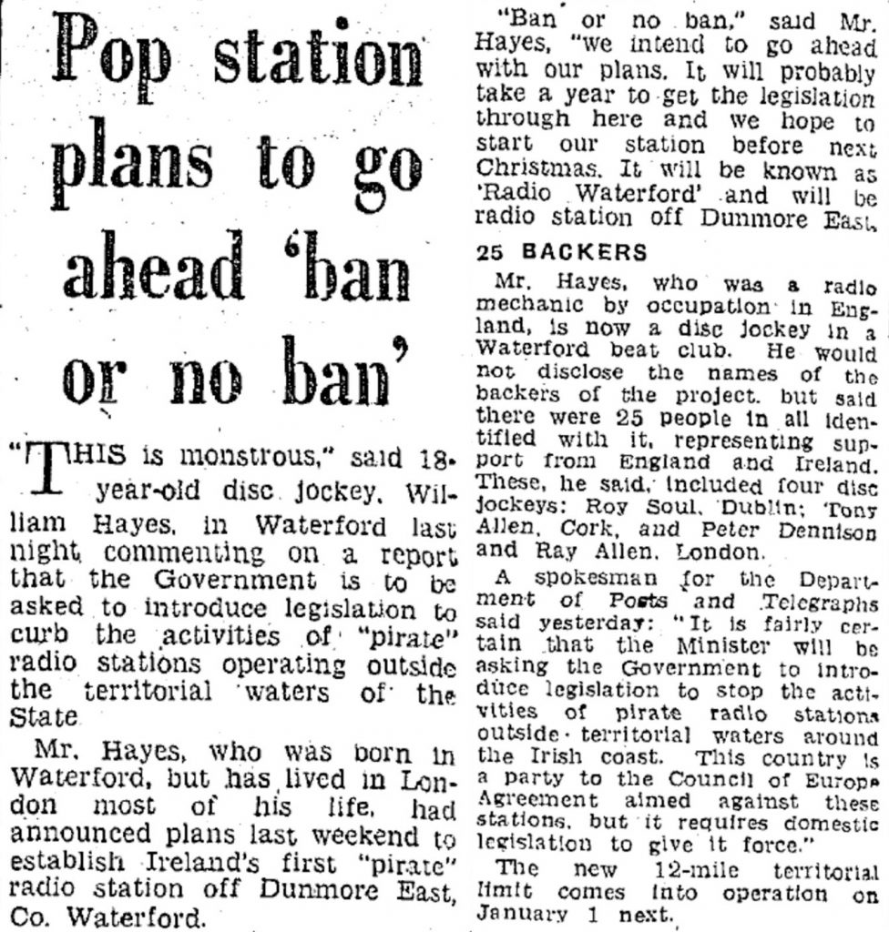 Pop station plans to go ahead 'ban or no ban' was a headline from The Irish Independent from October 18th 1966
