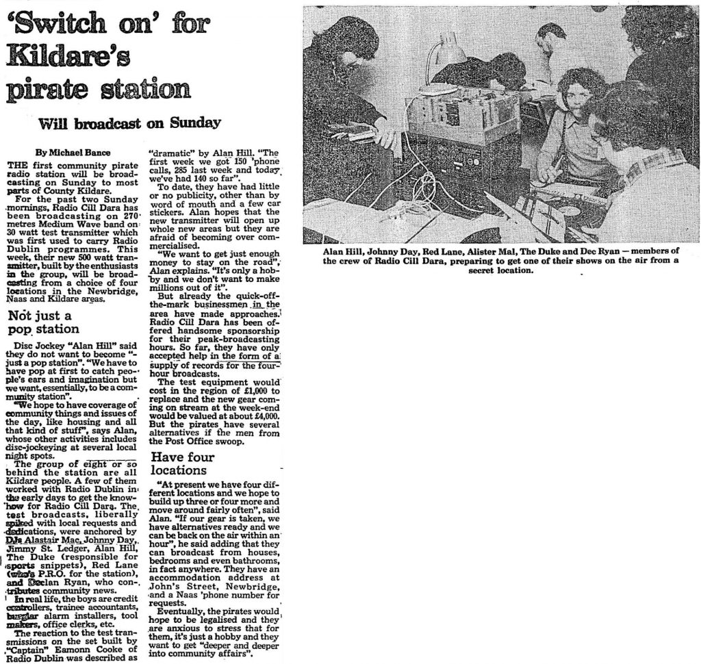 Radio Cill Dara launches to Kildare as reported on March 10th 1978