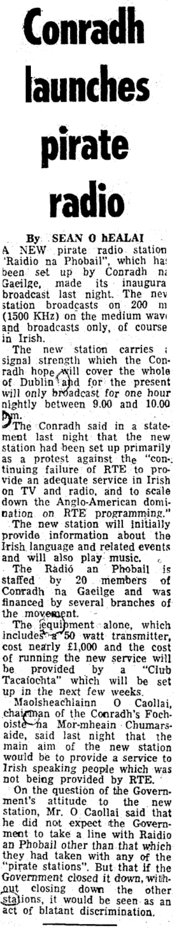 Raidió na Phobail launches - articles dated October 17th 1979