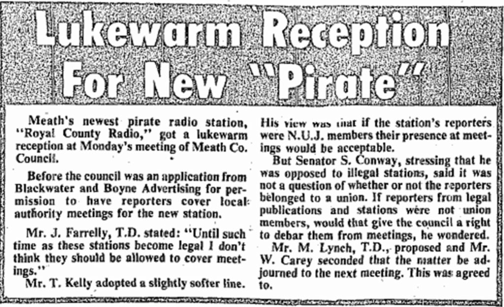 Lukewarm reception for new pirate was a newspaper headline from The Meath Chronicle dated October 9th 1982