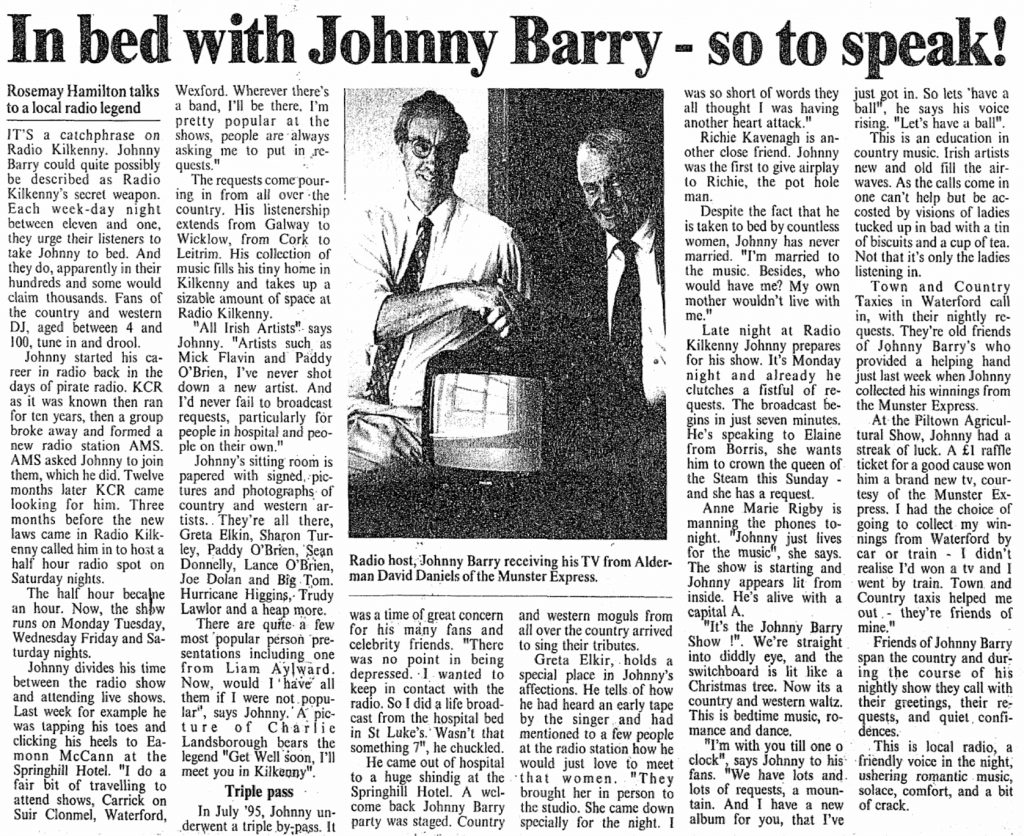 In bed with Johnny Barry - so to speak was a headline in the Munster Express dated October 3rd 1997