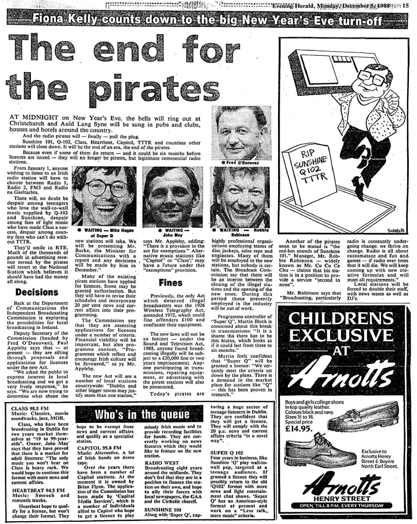 The end for the pirates - Evening Herald - December 5th 1988