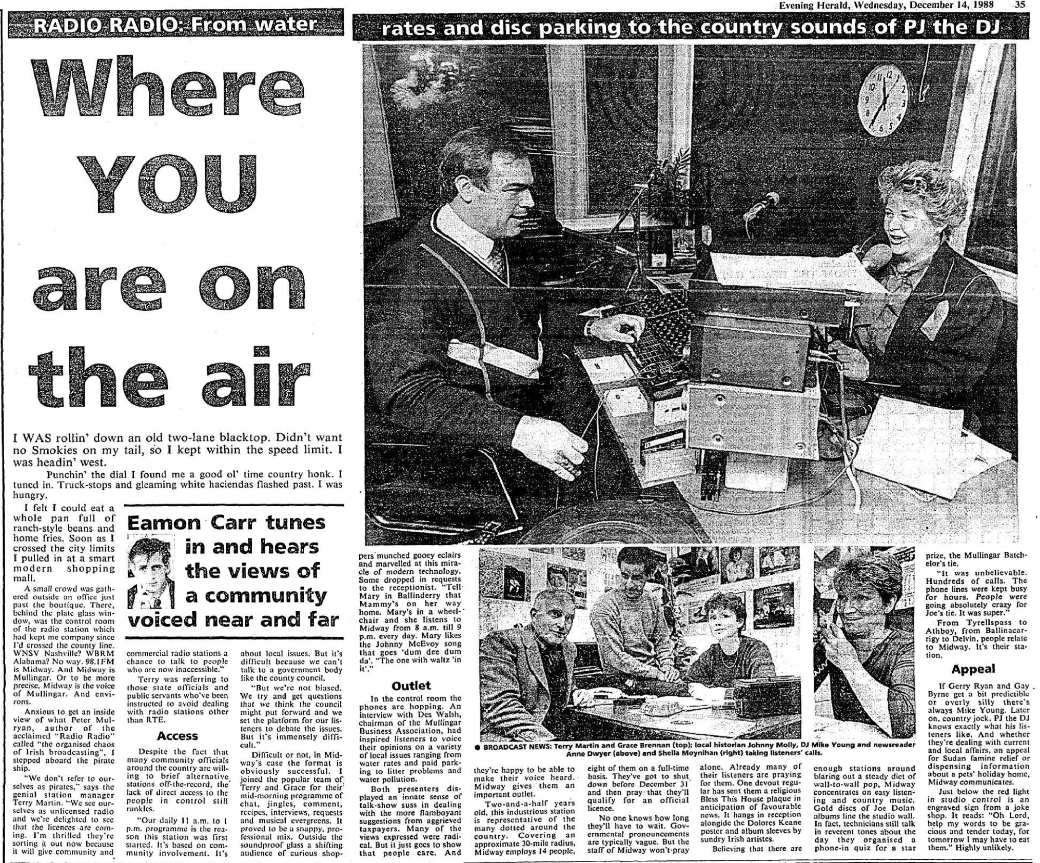 Midway Radio from Mullingar in the Evening Herald - December 1988