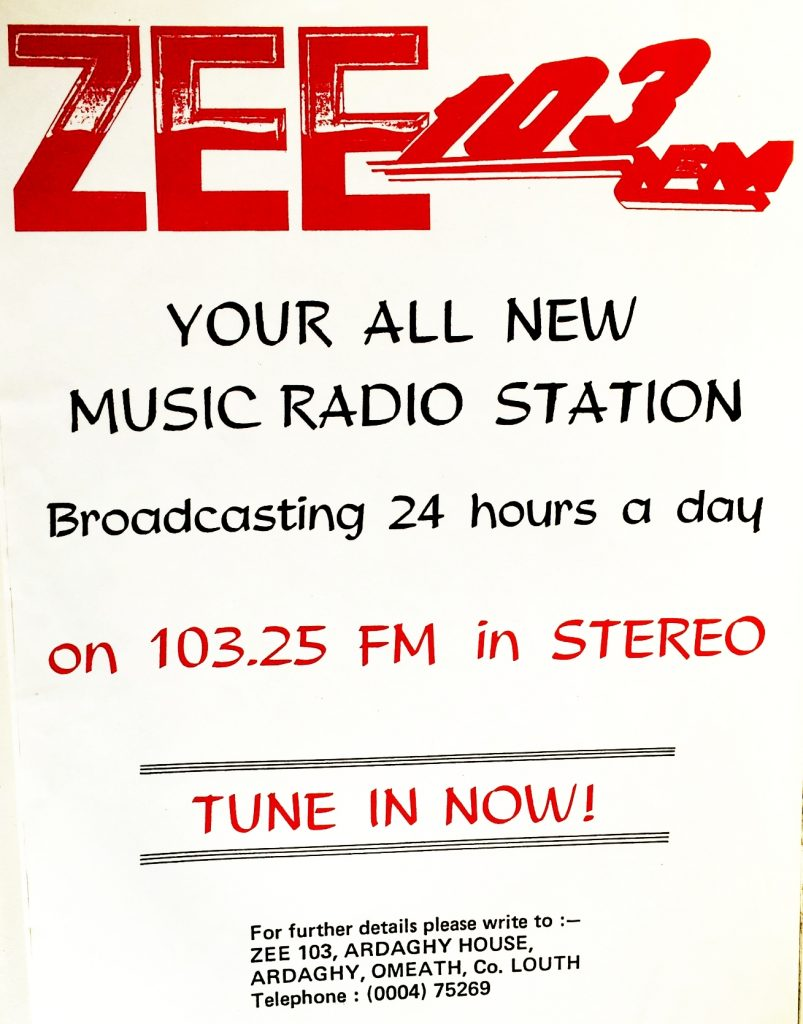 This is a recording of the Louth pirate radio station Zee 103 from June 27th 1987.  The station was based in Omeath, very close to the Northern Irish border, and was specifically aimed at a mid-Ulster audience.  This recording was off 103.25MHz and starts at 5pm.