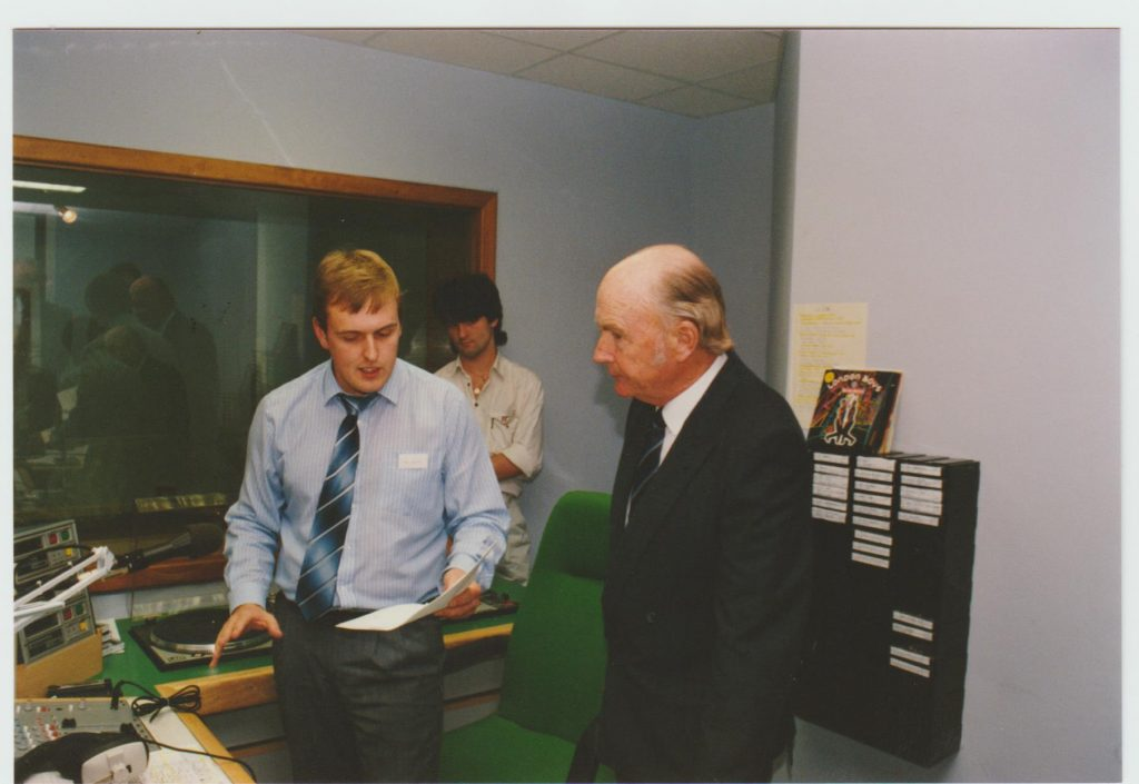 Ger Sweeney with President Hillery in the Clare FM studio on the day of launch