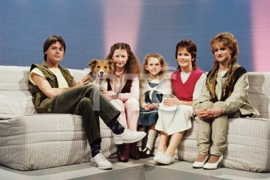 The presenters of RTÉ Television's young people's programme 'Youngline', with guests, in Studio 2 in May 1983. From left to right; Philip Irwin, Tansy the 'Youngline' dog, two unidentified young girls, Teresa Mannion and Mary Dinan.
