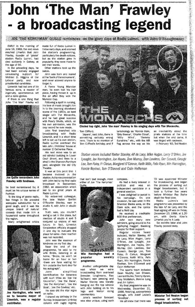Please forgive the quality on this really excellent piece:- John 'The Man' Frawley - A Broadcasting Legend