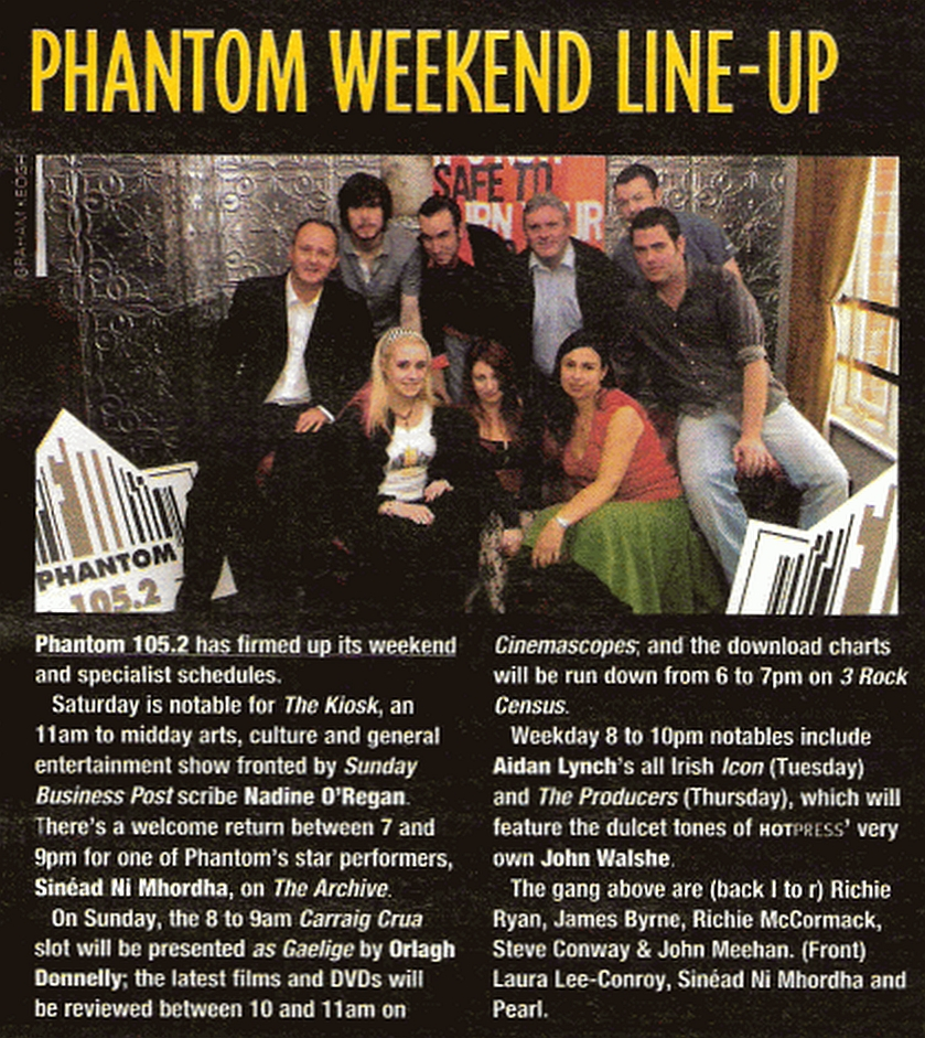 The first Saturday on the air for the licensed version of Phantom FM. This is every minute of live programming from their fifth day on air on 105.2MHz in Dublin.