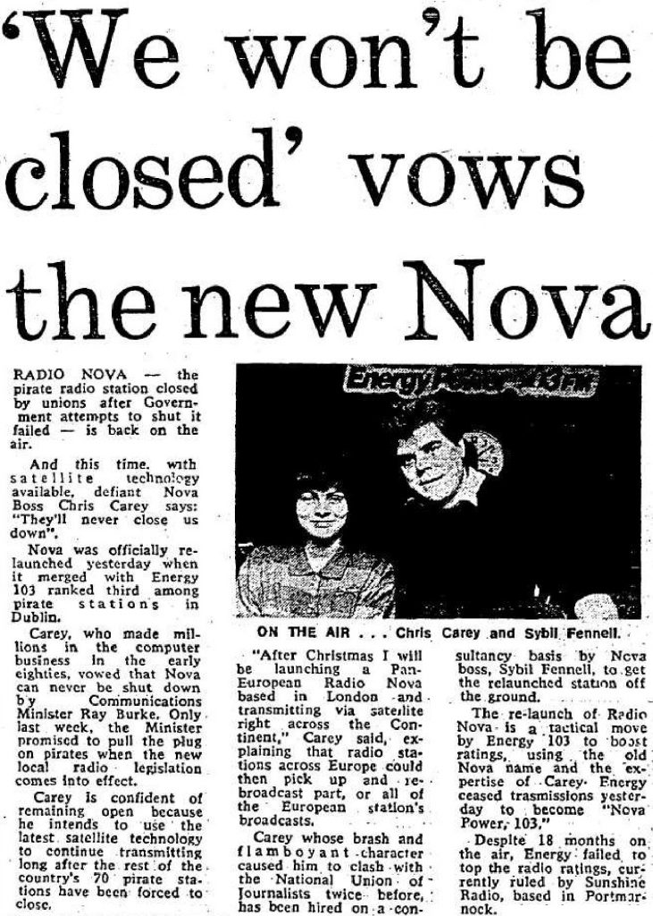 Following on from the merger between Energy 103 and Radio Nova which took place the day before, this is a selection of recordings from the 'new' station's first full day on the air. Although the official name was Nova Power 103FM, it was understandable that on air it was being identified as 'Radio Nova'.