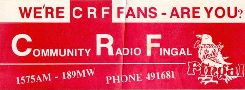 This is Community Radio Fingal, the north Co Dublin pirate station, from the evening of June 26th 1983.  It starts at 7pm and is taken off 1573kHz.