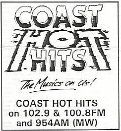 This is a recording of Tony Allan doing a shift on the Galway station Coast Hot Hits on the afternoon of November 6th 1988.