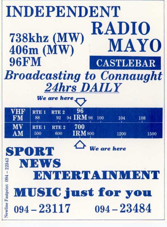 This is a recording of Independent Radio Mayo from September 11th 1987. Kevin Maque is on air from 4pm on 96MHz.