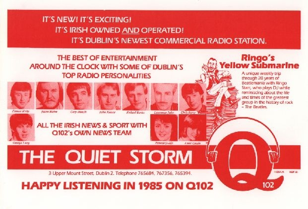 This is the final day of broadcasting from the Dublin superpirate Q102 in December 1988. We start at 8.45am and have the full day leading up to the station's closedown at 6pm - necessitated by the introduction of new laws outlawing pirate radio.  These recordings are off both AM and FM and feature pretty much everyone who was ever involved with the station in a broadcast full of reminiscing.