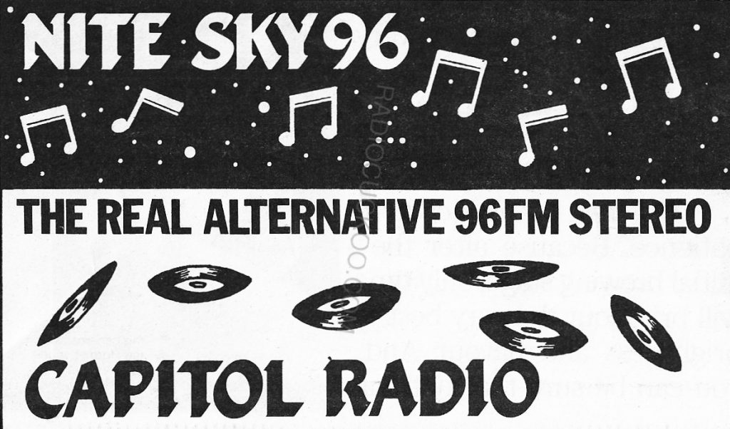 From February 1987 this is a recording of Nitesky 96, the alter-ego of nighttime service from Dublin's aternative music pirate Capitol Radio, broadcasting on 95.8MHz. Nick Carney is on air with his early evening show.
