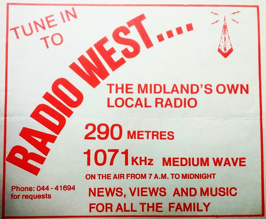 From the afternoon of April 1st 1986 this is Philip Hilton, followed by Willie Hart, on the Mullingar-based Radio West. Recorded off 765kHz, we join the broadcast at 1.45pm