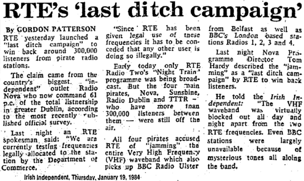 RTÉ's last ditch campaign was a newspaper headline from The Irish Independent dated January 19th 1984
