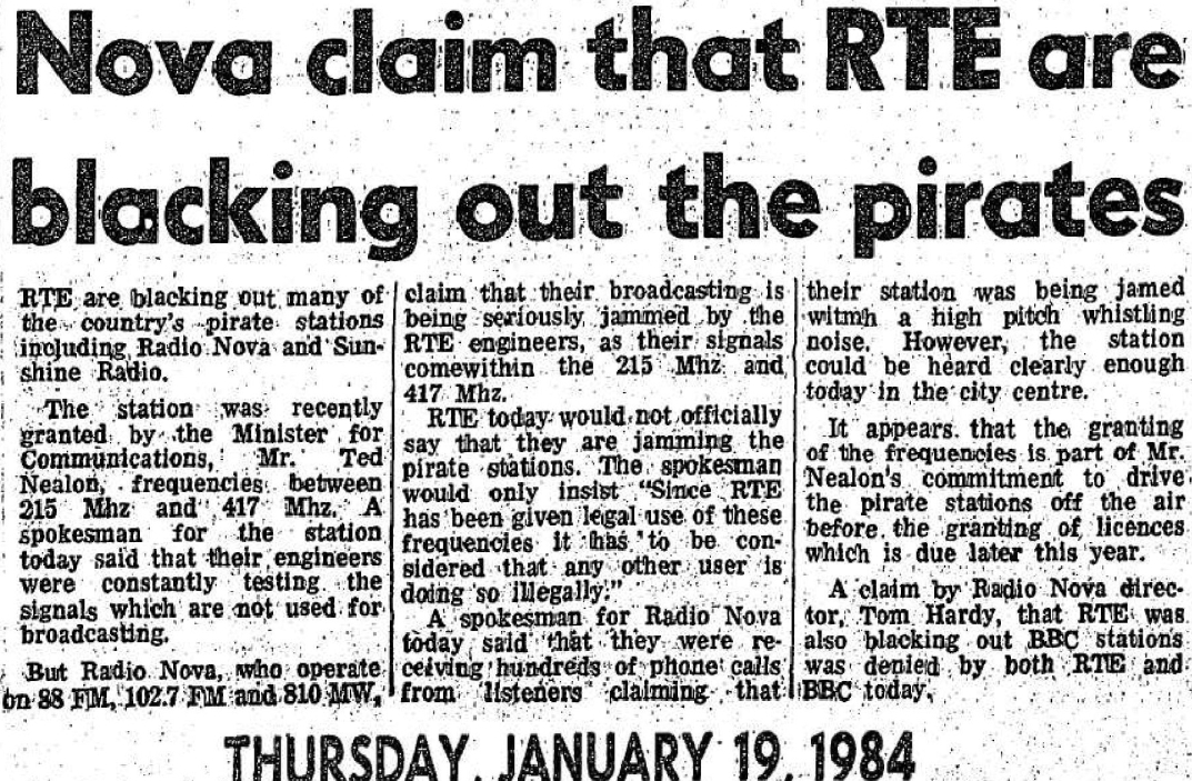 Nova claim that RTÉ are blacking out the pirates
