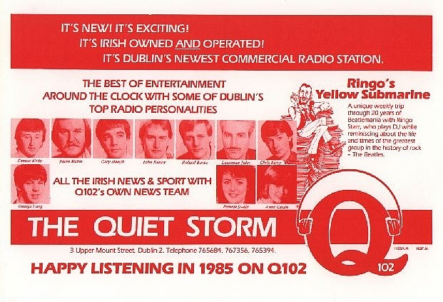 The launch of Dublin pirate Q102 from January 23rd 1985. There are some test transmissions from the afternoon and evening time.  Then at 7pm Lawrence John introduces the station and Jason Maine spins the discs in his own inimitable style. Later John Kenny was in the studio and we also have recordings from his show.