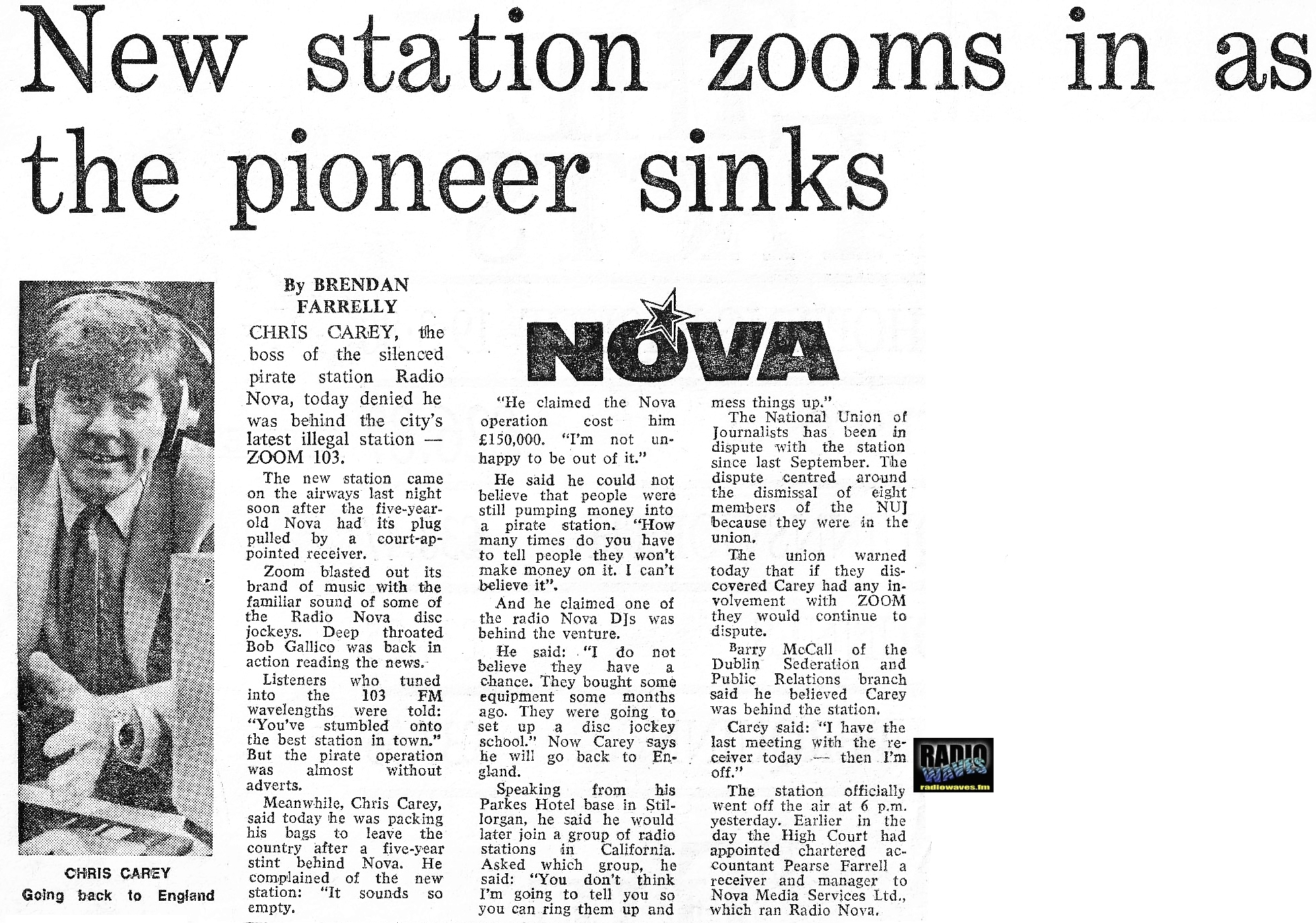 Having arrived on the air just as Radio Nova was forced to shut down the day before, Zoom 103 went fully live on March 20th 1986 with the exact same line-up as Radio Nova, all in the exact same slots. This recording features an hour of Tony McKenzie's show from just after the midday News, read by Bob Gallico.