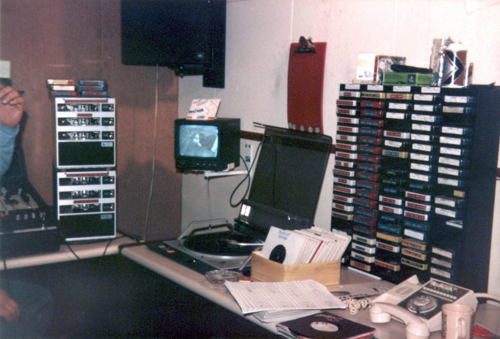 This is Andy Archer on Radio Nova, the Dublin superpirate. The recording starts at 11.30am and runs through lunchtime. Tony Allan is the Newsreader. Pictured is the station's main studio in Herbert St, taken during a visit by the Anoraks UK team.