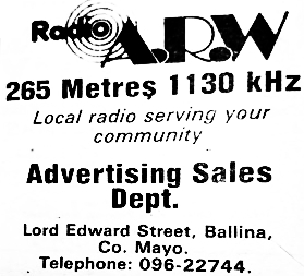 This is Alternative Radio West, the Mayo-based pirate station, which broadcast from Ballina. This recording was made on January 26th 1982 from 265metres and features the end of Tommy Murphy's show, and he is followed by Éamonn Brooks from 11am.