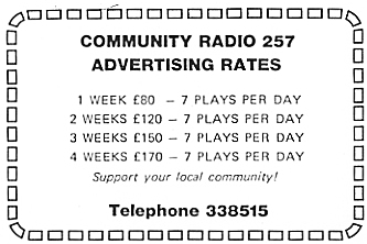 This recording is from the other station based in Portmarnock, Community Radio 257. Gordon Sommerville is on air from 10.30am on a Thursday morning, June 2nd 1983.