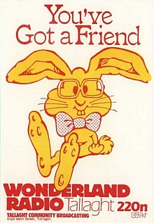 This is Wonderland Radio from the Tallaght area of south Dublin. Recorded off 1359kHz on the morning of November 1st 1984, this is the breakfast programme with Seán Quinn on air starting at 7.53am.