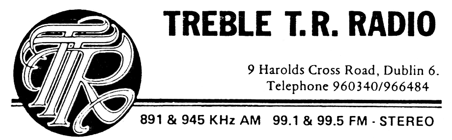 From July 22nd 1988 this is a recording of the Dublin pirate station Treble TR. Recorded off 99.5MHz, we join an unnamed presenter at 4.45pm before 'Beth' takes over from 5pm.